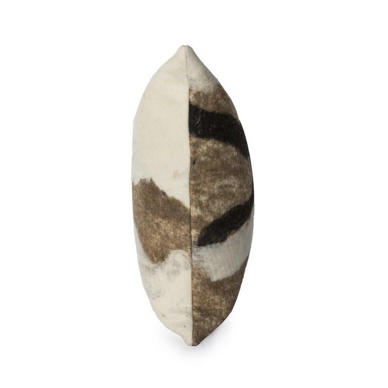 Organic Modern JG Switzer Artisan Wool Moorit Brown Pillow, Heritage Sheep Collection For Sale