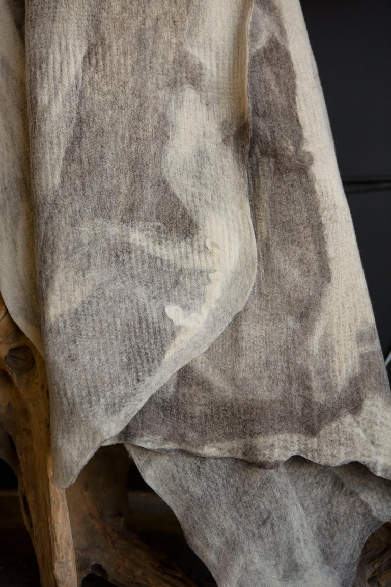 Hand-Crafted JG Switzer Artisan Wool Umber Throw, Heritage Sheep Collection For Sale