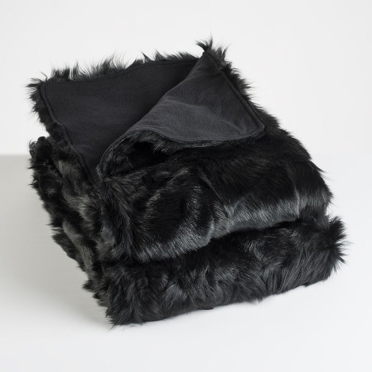 Hand-Crafted JG Switzer Toscana Sheep Fur Truffle Throw Backed with Lambswool/Cashmere For Sale