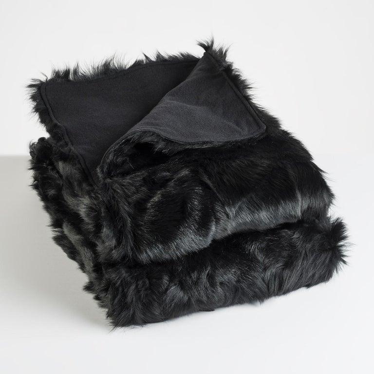 JG Switzer Toscana Sheep Fur Truffle Throw Lined with English Merino Wool For Sale 3