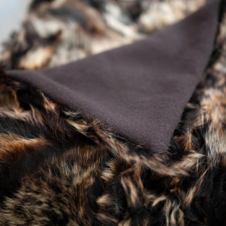 Finally, guilt free upcycled from glove factory remnants and sewn into our exclusive blanket fabric. 100% authentic Toscana sheep fur from Spain. Versatile and luxurious, can be purchased backed with 100% merino wool from 1700s mill in England. This