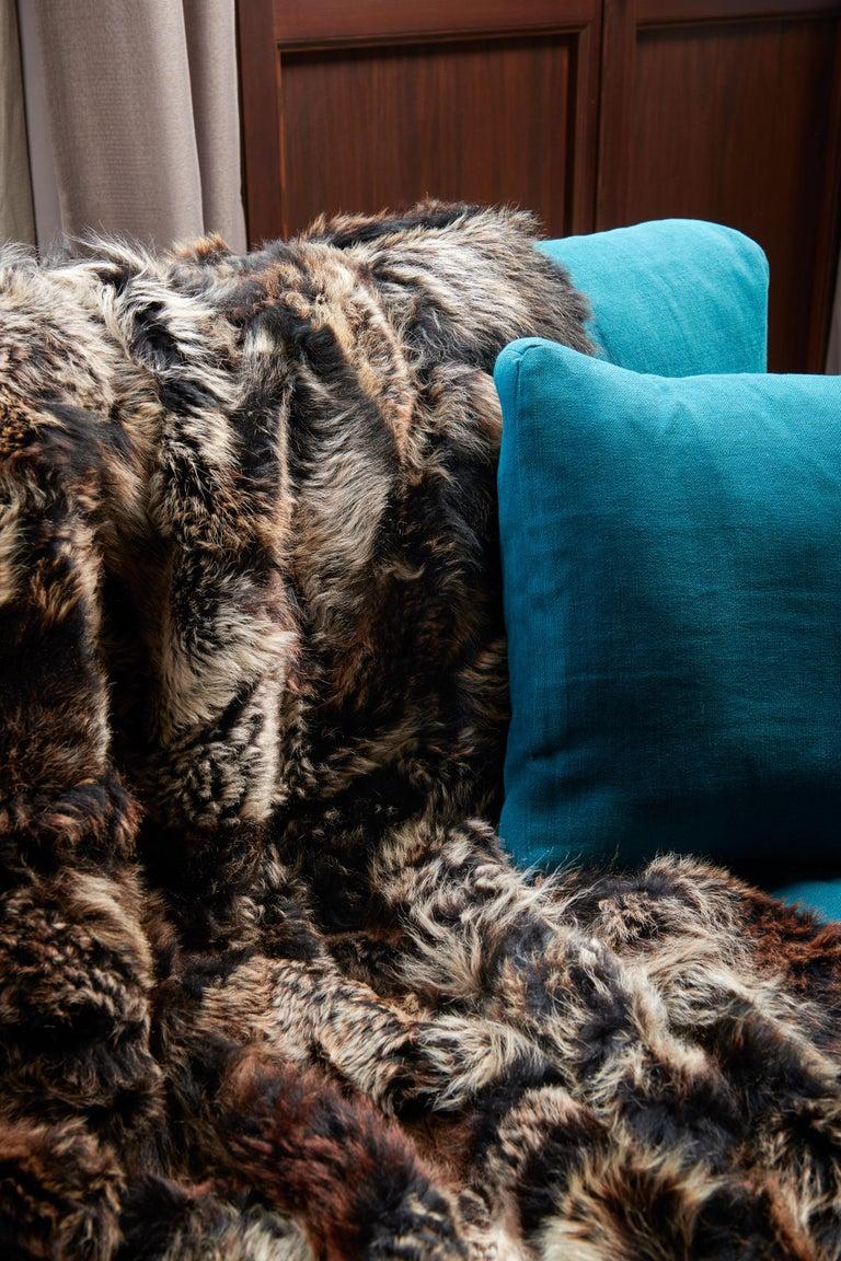 Organic Modern JG Switzer Toscana Sheep Fur Truffle Throw Lined with English Merino Wool For Sale