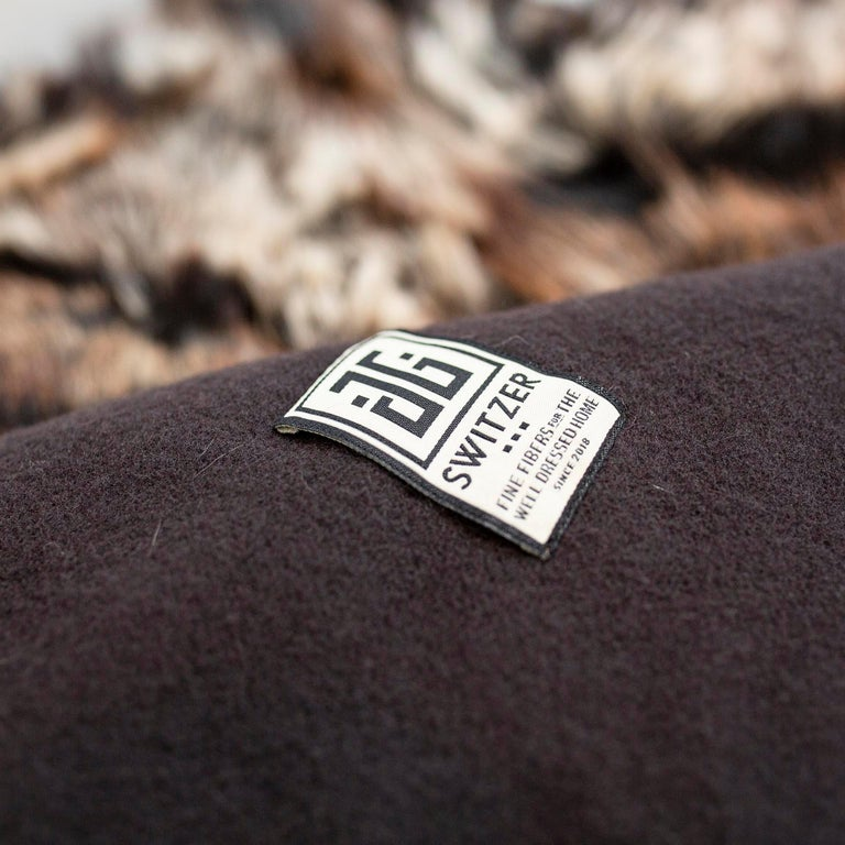 Hand-Crafted JG Switzer Toscana Sheep Fur Truffle Throw Lined with English Merino Wool For Sale
