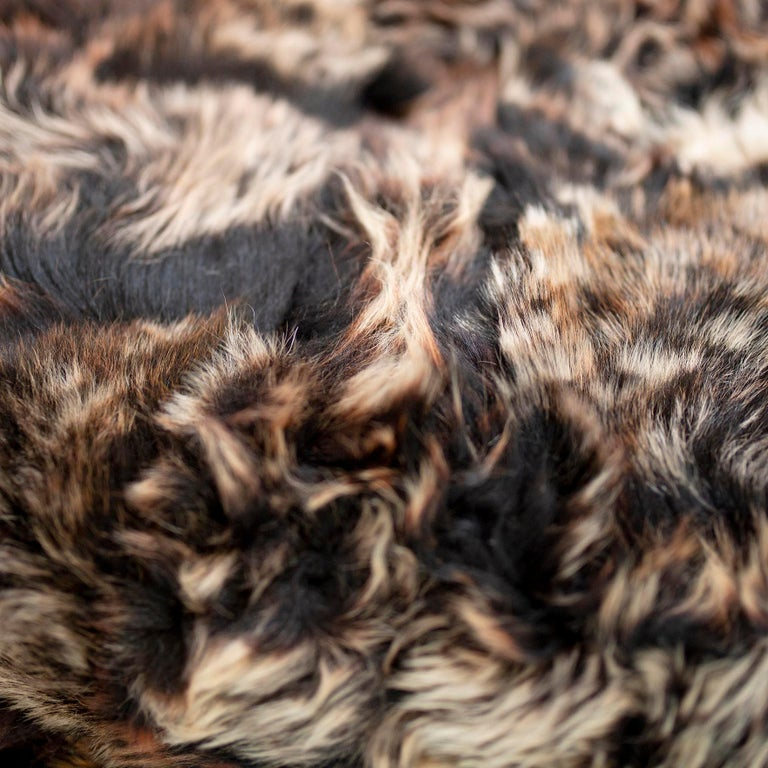 JG Switzer Toscana Sheep Fur Truffle Throw Lined with English Merino Wool In New Condition For Sale In Sebastopol, CA
