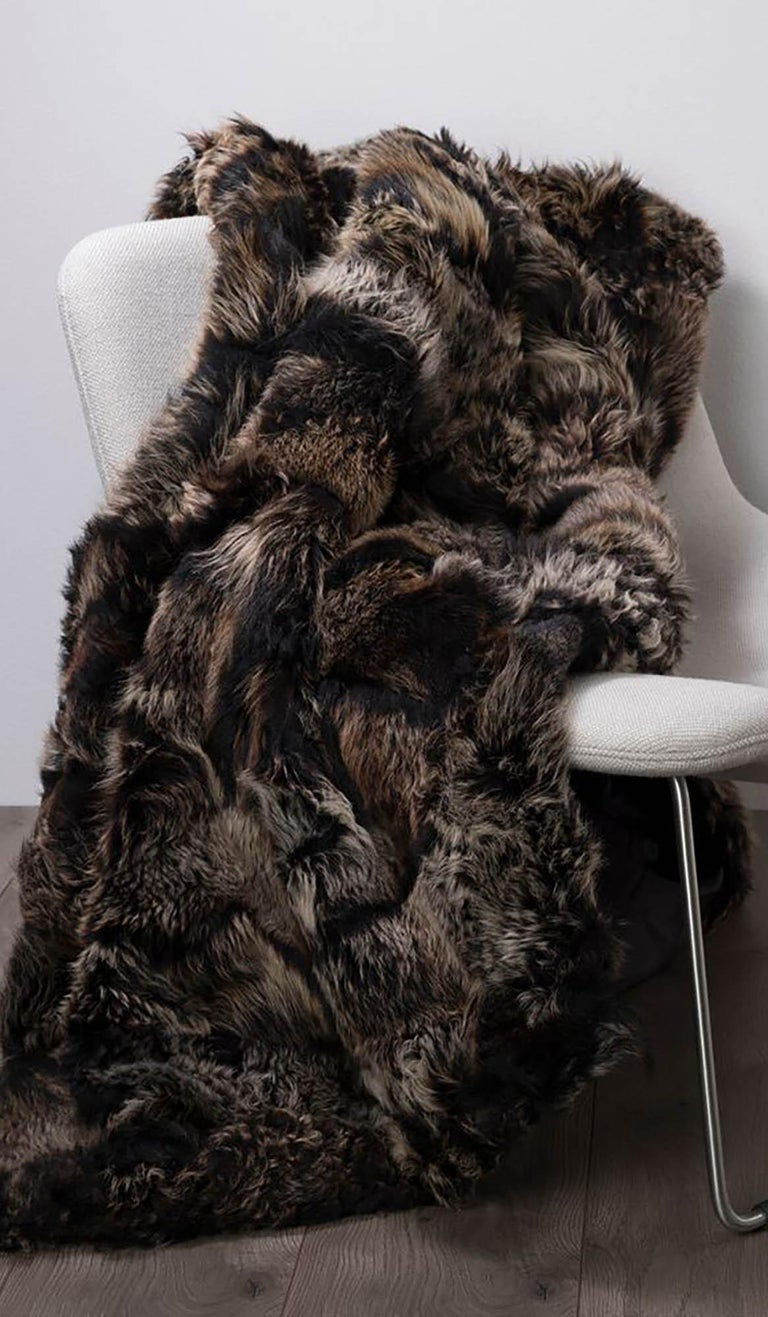 Contemporary JG Switzer Toscana Sheep Fur Truffle Throw Lined with English Merino Wool For Sale
