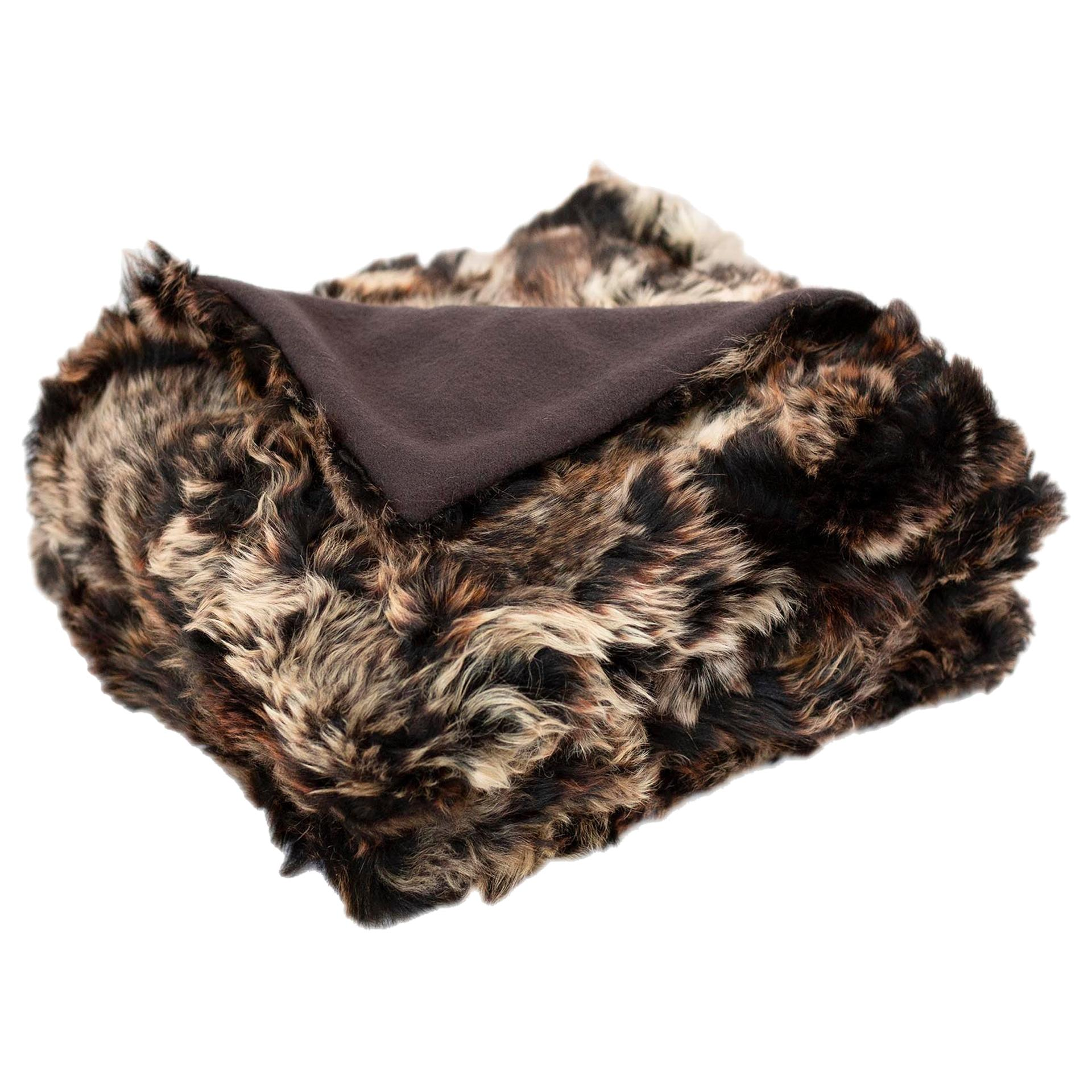 JG Switzer Toscana Sheep Fur Truffle Throw Lined with English Merino Wool