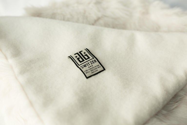 Organic Modern JG Switzer Toscana Sheep Fur White Throw Backed with Lambswool/Cashmere For Sale