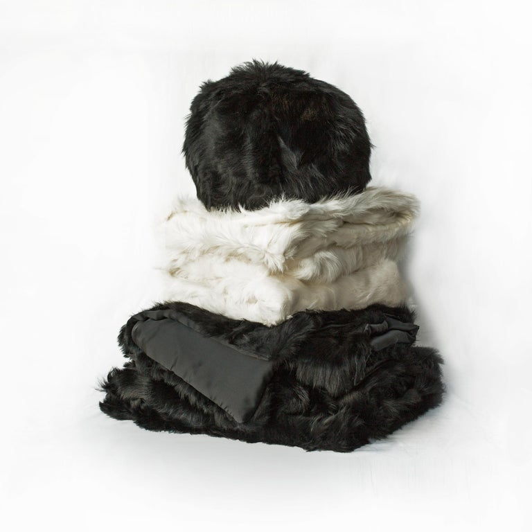 American JG Switzer Toscana Sheep Fur White Throw Backed with Lambswool/Cashmere For Sale