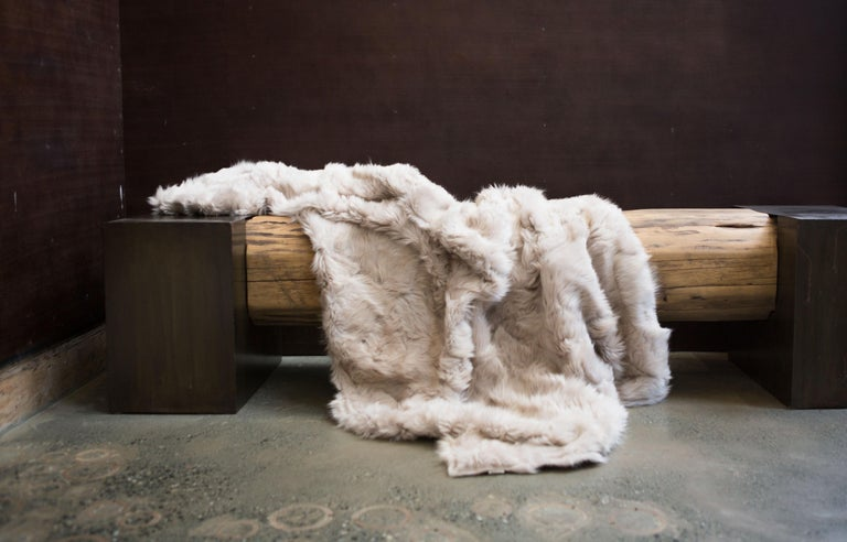 JG Switzer Toscana Sheep Fur White Throw Backed with Lambswool/Cashmere In New Condition For Sale In Sebastopol, CA