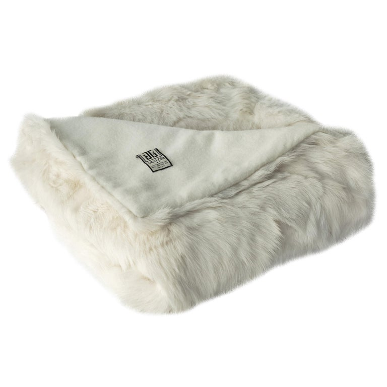 JG Switzer Toscana Sheep Fur White Throw Backed with Lambswool/Cashmere For Sale