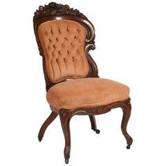 JH Belter Laminated Rococo Revival Henry Clay Pattern Slipper Chair, circa 1860