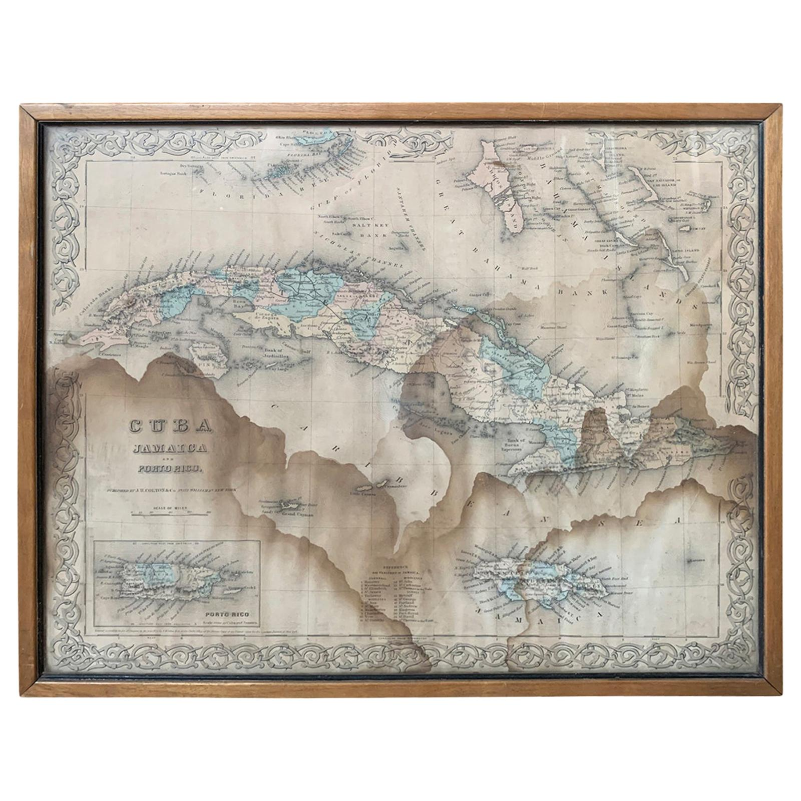 J.H. Colton & Co. Hand Colored Engraved Map of Cuba, Jamaica, & Puerto Rico
