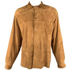 JHANE BARNES 44 Tan Solid Suede Leather Oversized Shirt Jacket