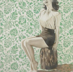 """Sitting Pretty"" - vintage, encaustic, celebrities, retro, nostalgic, memories"
