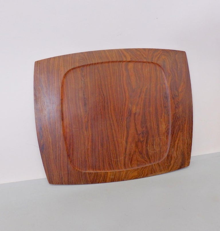 Nicely grained solid rosewood serving tray. Quality of a Jens Quisgaard piece for Dansk but unmarked .