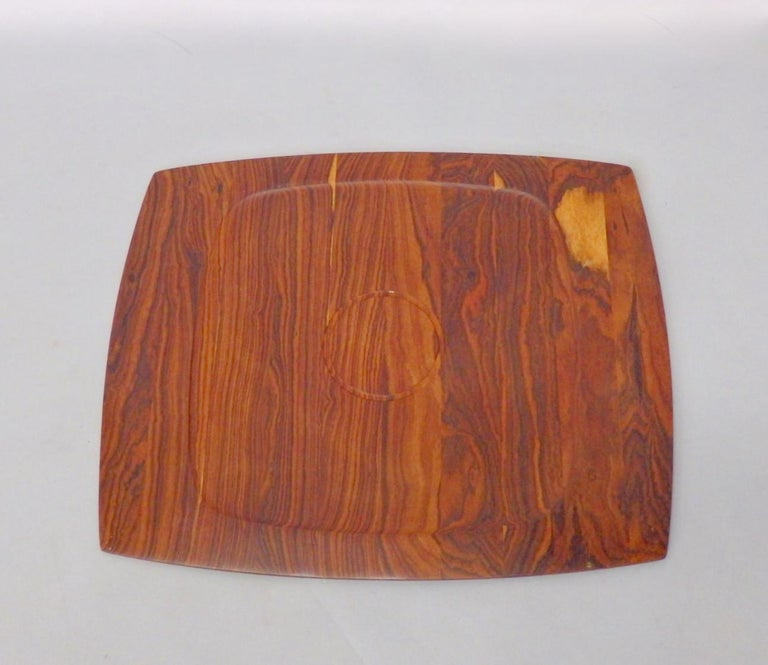 Hand-Crafted JHQ Dansk Attributed Solid Rosewood Serving Tray For Sale