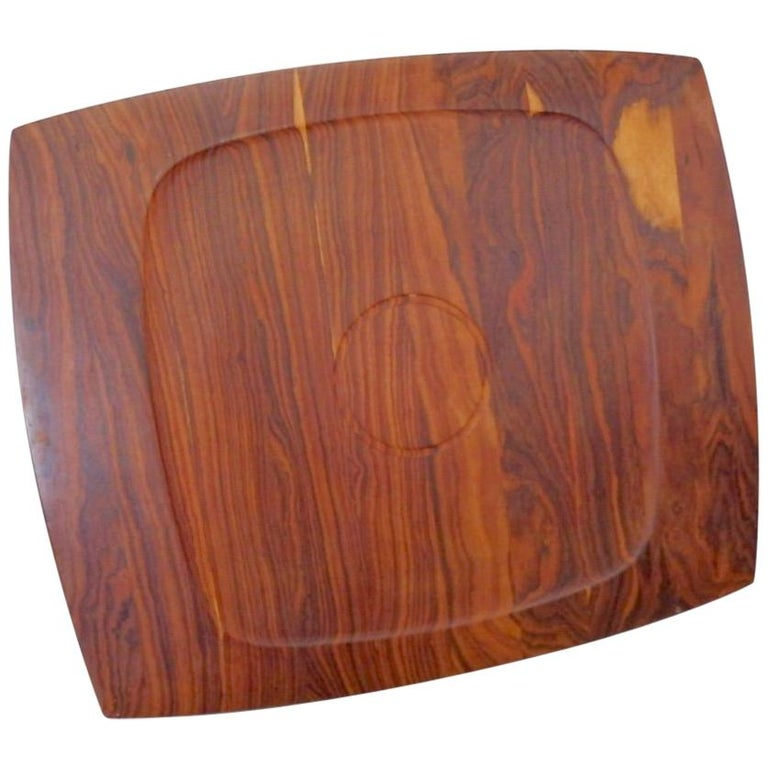 JHQ Dansk Attributed Solid Rosewood Serving Tray For Sale