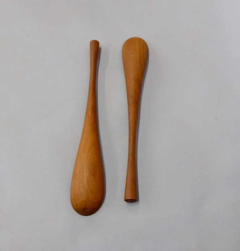 Pair of Jens Quistgaard Danish teak salad servers. Part of a recently acquired large collection.