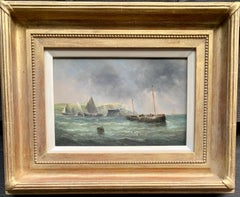 19th century antique English fishing boats by the White Cliffs of Dover