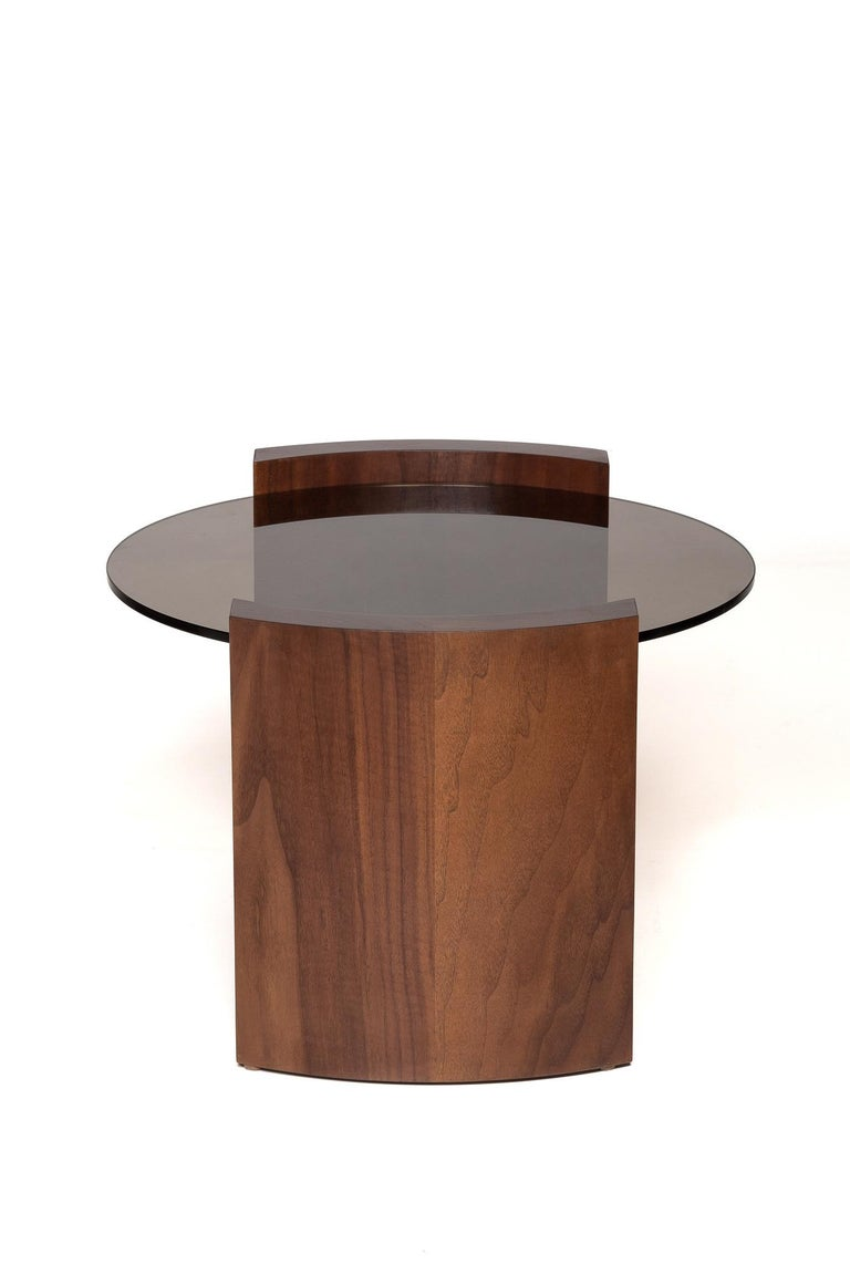 Brutalist Jia Small Coffee Table in Solid Walnut Wood with Glass Top For Sale