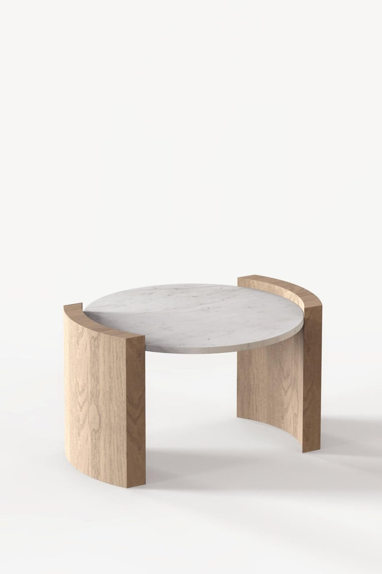 Jia Small Coffee Table in Solid Walnut Wood with Glass Top In New Condition For Sale In Los Angeles, CA
