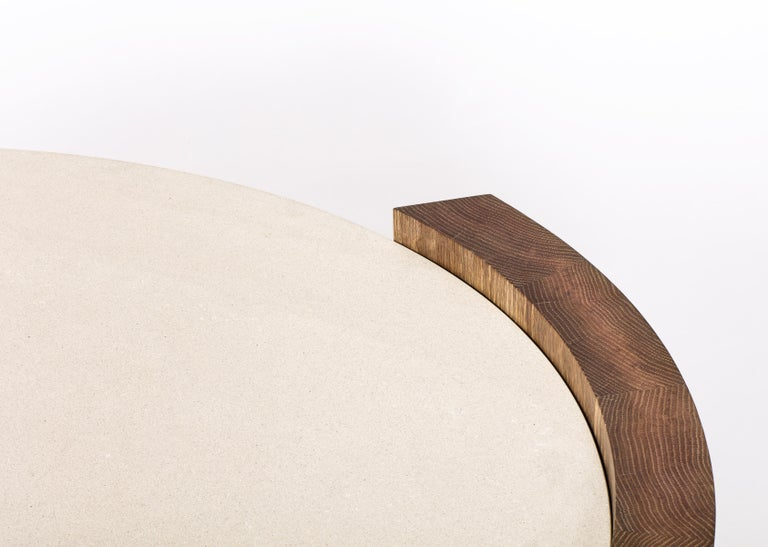 Contemporary Jia Small Coffee Table in Solid Walnut Wood with Glass Top For Sale