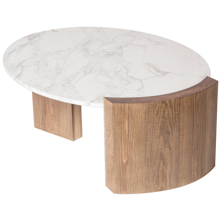Jia Table Solid Wood in Oak, Ash, Maple, Walnut with Carrara Marble Top For Sale