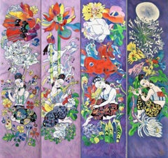 Four Songs of Spring, Limited Edition Silkscreen on Canvas, Jiang Tiefeng