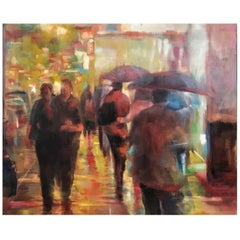 Jih-Chin Wu, Neon Crowd, Contemporary Taiwanese Oil on Canvas Painting