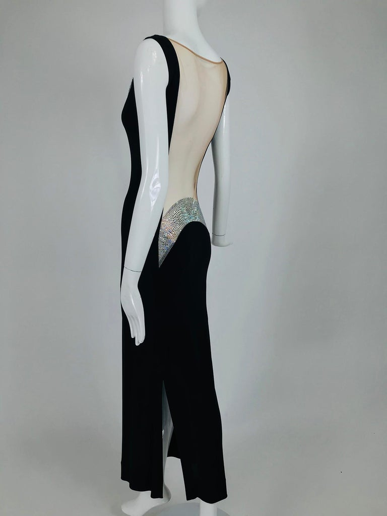 JIKI Monte-Carlo Black Crepe Backless Nude Mesh Crystal Gown For Sale 6