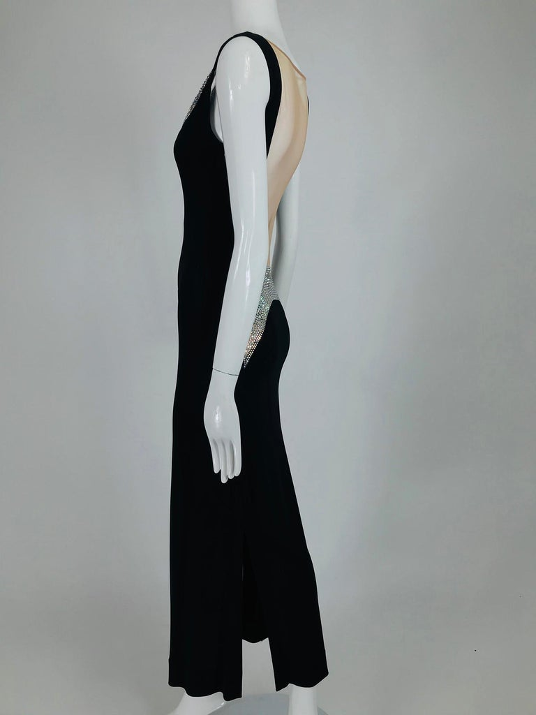 JIKI Monte-Carlo Black Crepe Backless Nude Mesh Crystal Gown For Sale 7
