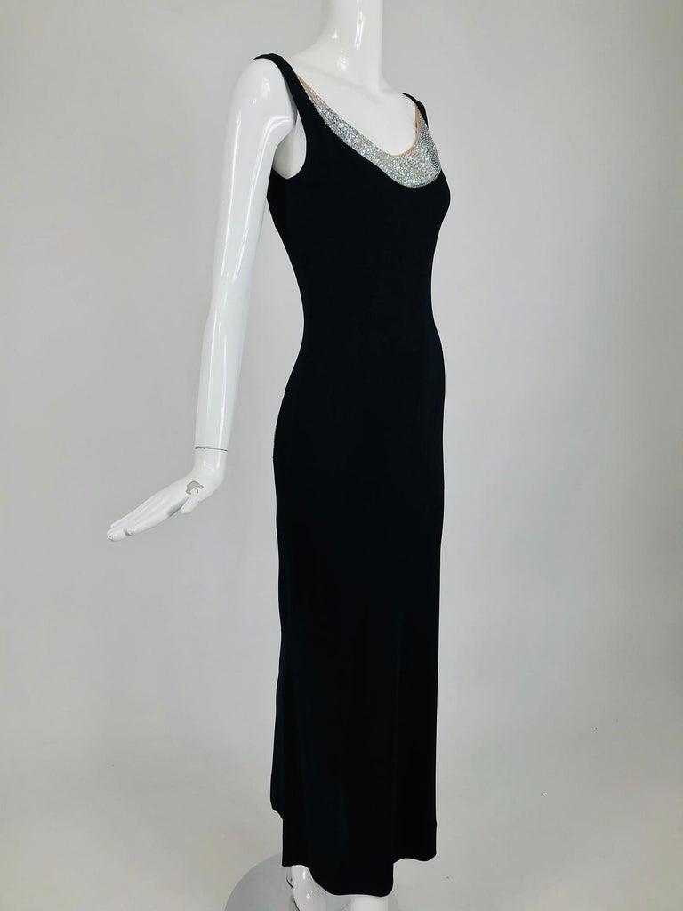 JIKI Monte-Carlo Black Crepe Backless Nude Mesh Crystal Gown In Good Condition For Sale In West Palm Beach, FL