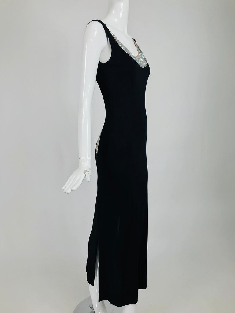 Women's JIKI Monte-Carlo Black Crepe Backless Nude Mesh Crystal Gown For Sale