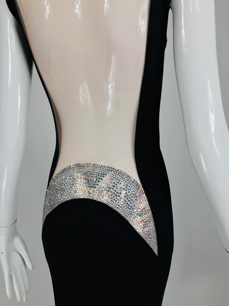 JIKI Monte-Carlo Black Crepe Backless Nude Mesh Crystal Gown For Sale 3