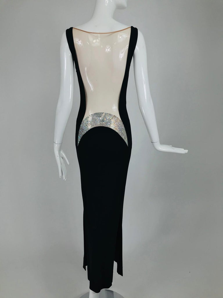 JIKI Monte-Carlo Black Crepe Backless Nude Mesh Crystal Gown For Sale 4