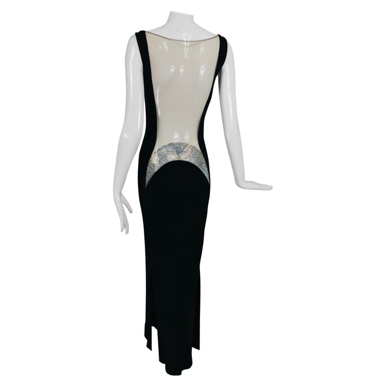 JIKI Monte-Carlo Black Crepe Backless Nude Mesh Crystal Gown For Sale