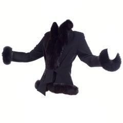 Jiki Monte Carlo Black Wool Beaded Jacket W Fox Fur Trim from Harriet Kassman