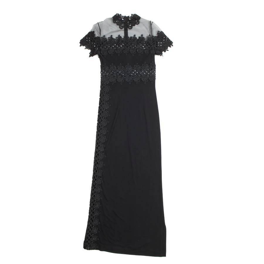 Jiki Monte Carlo Black Viscose Tulle Long Evening Dress