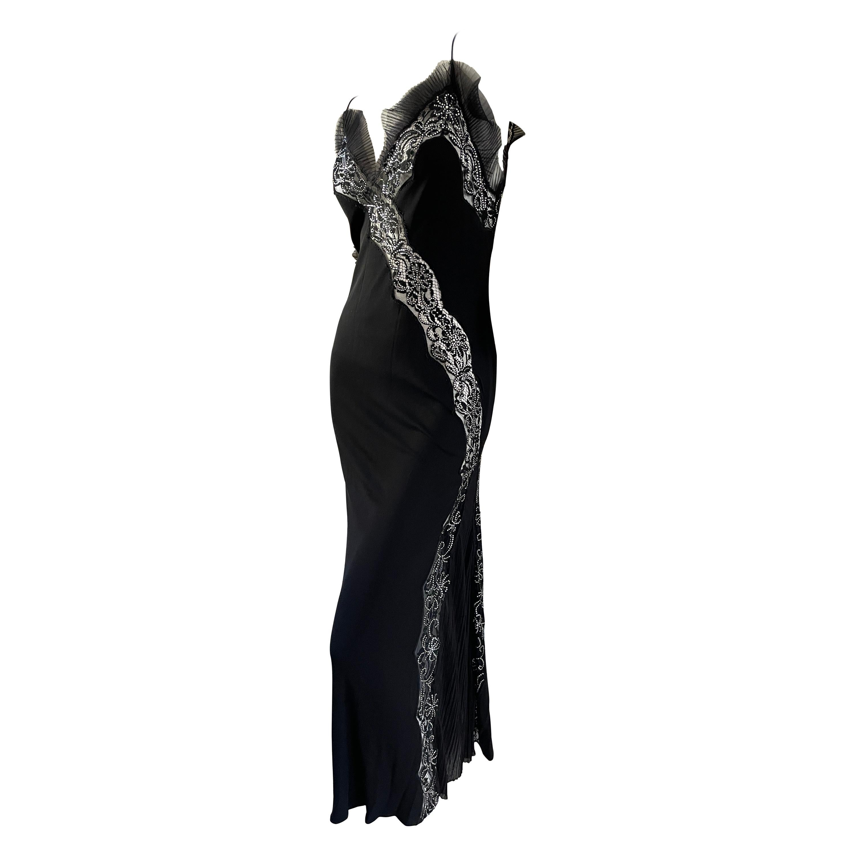 Jiki Monte Carlo Sexy Vintage Lace Trim Sheer Cocktail Dress with Crystal Accent