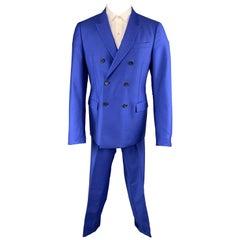 JIL SANDER 42 Royal Blue Solid Wool / Mohair Double Breasted Peak Lapel Suit