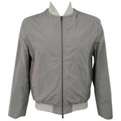 JIL SANDER 44 Gray Wool / Cotton Light Weight Bomber Jacket