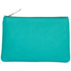 Jil Sander Aqua Green Leather Zip Pouch