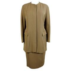 Jil Sander Beige Silk Cashmere Classic Suit Skirt
