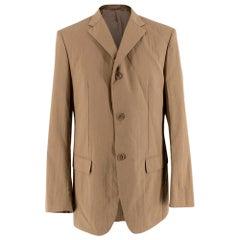 Jil Sander Beige Textured Cotton Single Breasted Blazer - Size L 50