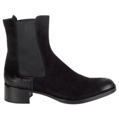 JIL SANDER black Distressed suede CHELSEA Ankle Boots Shoes 38.5
