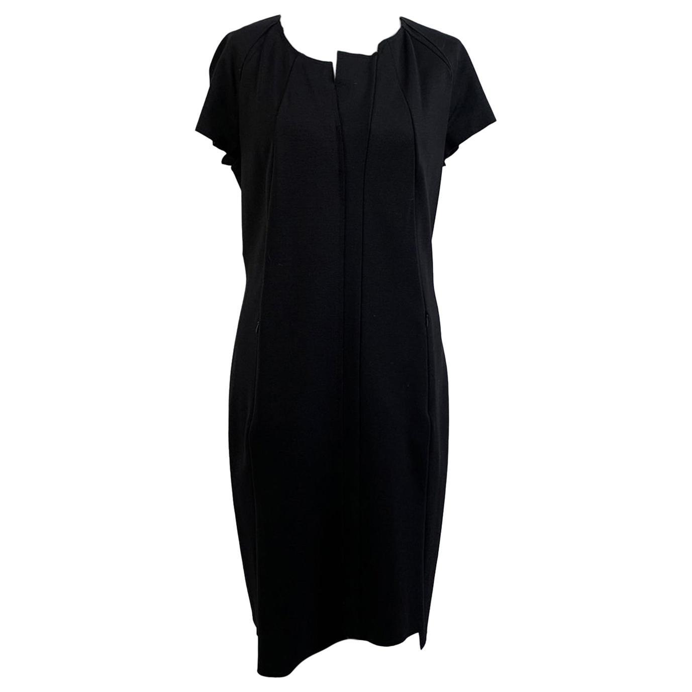 Jil Sander Black Sheath Short Sleeve Dress Size 40