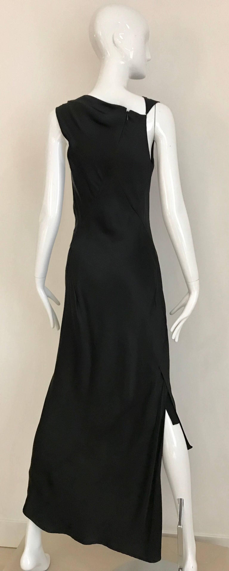 Jil Sander Black Silk Charmeuse Dress In Excellent Condition For Sale In Beverly Hills, CA