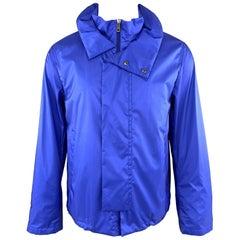 JIL SANDER by RAF SIMONS Size 38 Blue Nylon High Neck Zip Hood Parka