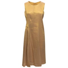 Jil Sander Gold Sleeveless Midi Dress