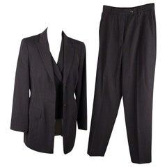 JIL SANDER Gray New Wool PANTS SUIT w/ Waistcoat VEST Size S